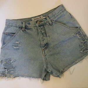 Zana Di Vintage High Waist Jean Shorts Raw Hem